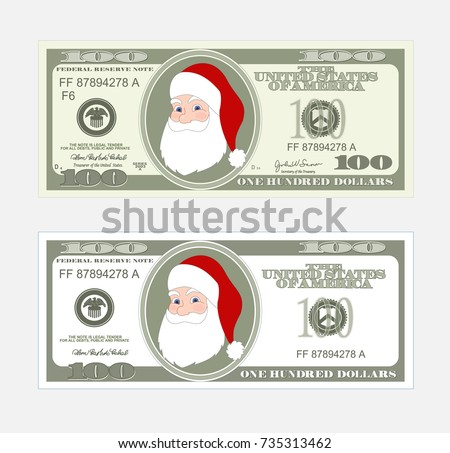 Free 100 dollar bill vector template download free vector art design template 100 dollars banknote with santa claus bill one hundred dollars suitable for pronofoot35fo Choice Image
