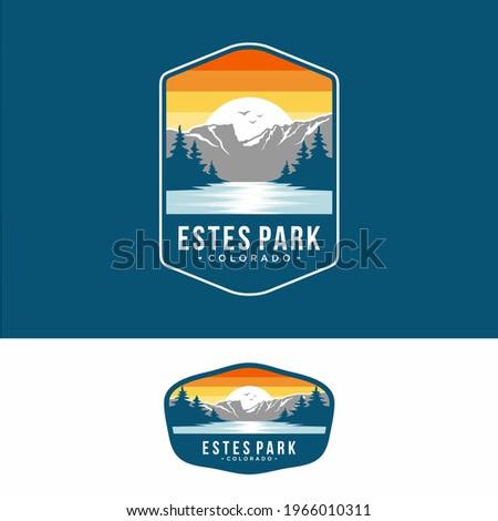 Design template.Este park emblem patch logo illustration in Rocky Mountains National park Photo stock ©
