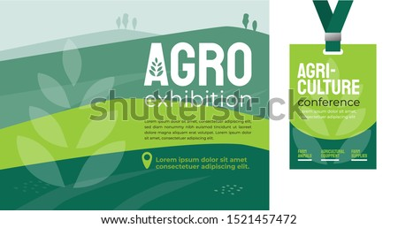 Design template for farming, agriculture, livestock business. Identity for agricultural company, agro conference, exhibition, forum, event. Mockup ID card with strap. Vector illustration for flyer, ad