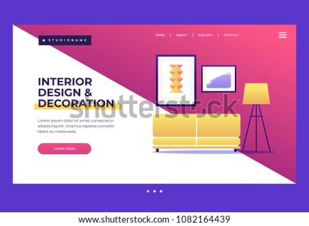 Design template for Landing Page. Homepage. Interior design and decoration concepts. Elements of home interior: sofa, floor lamp and paintings. Vector flat  illustration.