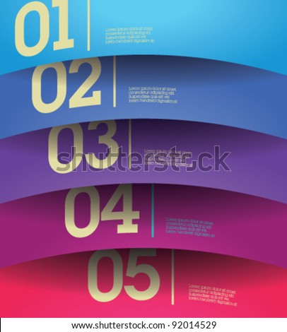 Design template - horizontal colorful cutout curvy lines / graphic or website layout vector