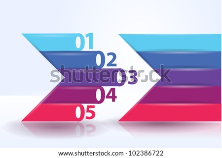 Design template - horizontal colorful cutout lines and arrows / graphic or website layout vector