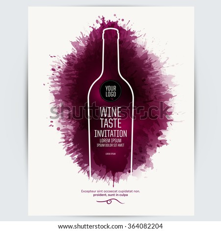 Design Template list, wine tasting or invitation. Illustration bottle of wine. Background with wine stains, expressive texture. Idea for your design. Vector