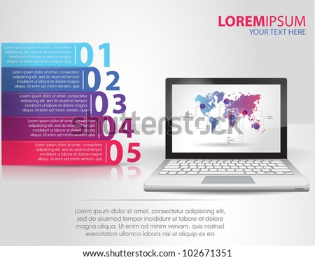 Design template numbered banners with laptop. infographics