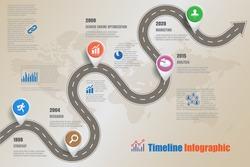 Design template, Road map business timeline. Vector Illustration