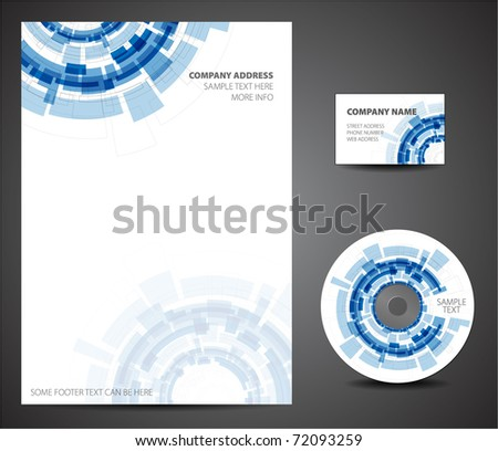 Design template set - business card, cd, paper - stock vector