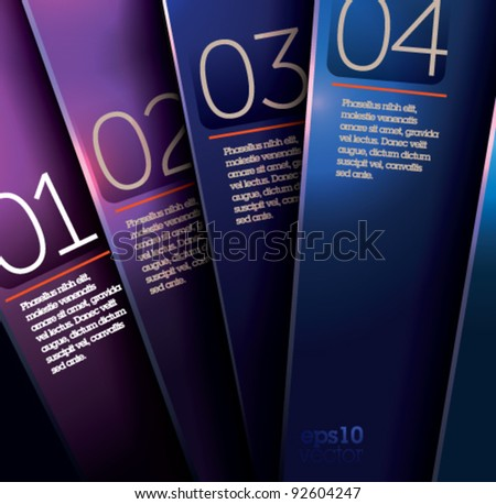 Design template - simple shiny violet and blue plates on dark background/ graphic design or website layout vector