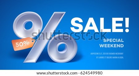 Design template with 3d percentage symbol with tag on it and place for text. Vector Illustration