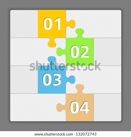 Design template with four elements made of puzzle pieces, vector eps10 illustration