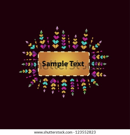 Design template with ornamental text frame. Colorful floral decorative ornament and place for your text