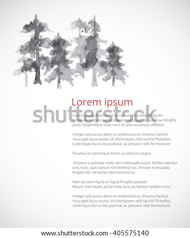design template with trees in