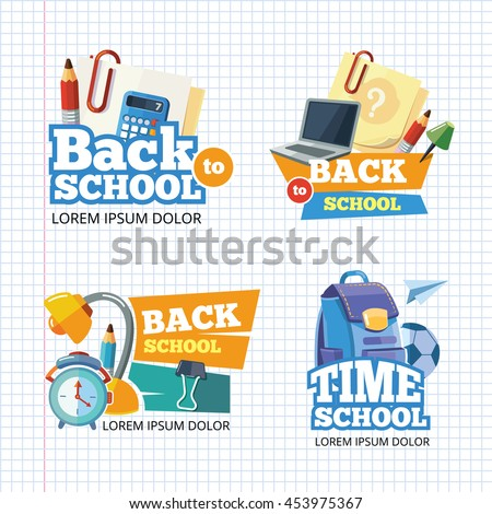 Design template with vector school emblem sets. Elements for logo design with place for your text