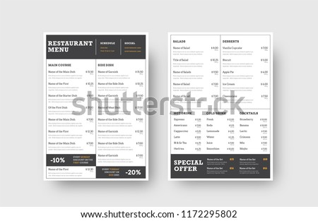 Design the front and back pages of the menu for a restaurant or cafe, divided into blocks for dishes, drinks and stock. White vector template with black lines and orange elements.
