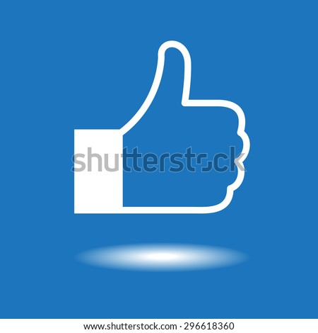 Design thumbs up icon. White icon on blue background