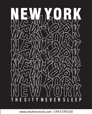 DESIGN TYPOGRAPHY NEW YORK FOR PRINT T SHIRT