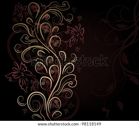 Design vector background with floral ornate - stock vector
