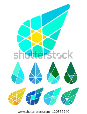 Design vector drop logo element. Colorful abstract pattern, icon set. You can use in the environmental protection, resource recovery, farm, water, and other commercial image.