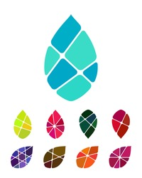 Design vector drop water or leaf logo element. Colorful abstract pattern, icon set.