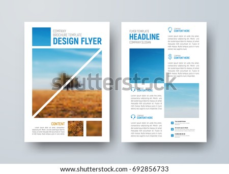 Design vector  flyer with squares for photo. A template for the front and back pages of the brochure for business and advertising. Blurred photo for the sample. #692856733