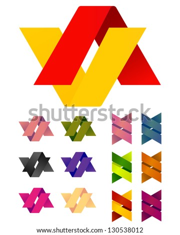 Design vector Infinite cross ribbon logo template. Colorful abstract pattern, A and V icon set. You can use in the mobile, finance,biology, chemistry, science and other commercial image.