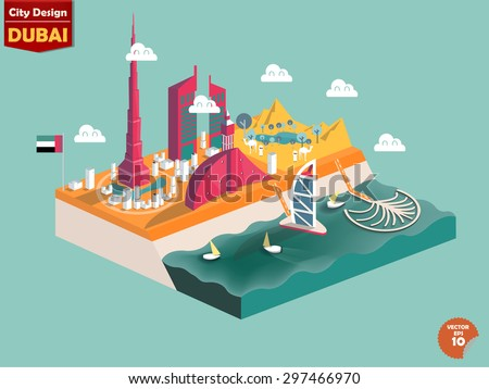 design vector of dubai uae