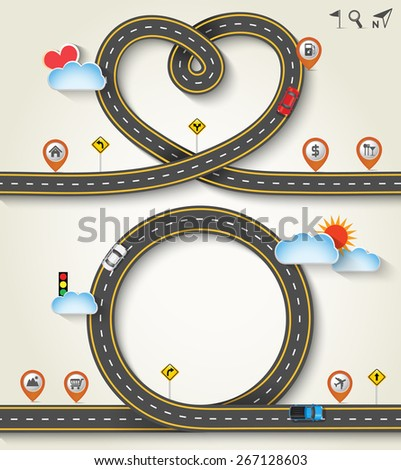 Design vector road frame in form of heart /circle with car and traffic signs. Concept of travel, Greeting card Valentines Day, Vector Template Background, Illustration EPS 10.