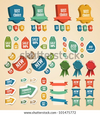 Design vintage elements: tags, stickers, ribbons and other. Vector illustration. - stock vector