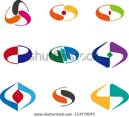 Design wave logo element Abstract vector tai chi template set