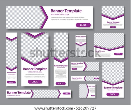 Design Web banners of different standard sizes. Templates banner with an arrow for the photo, and purple buttons. Vector illustration. Set.