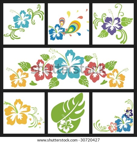 design with flowers of hibiscus