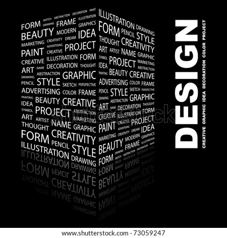 DESIGN. Word collage on black background. Vector illustration. Creative Illustration for presentation. - stock vector