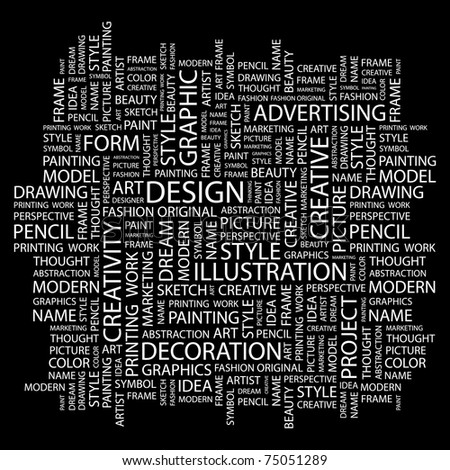 DESIGN. Word collage on black background. Vector illustration. Illustration with different association terms.