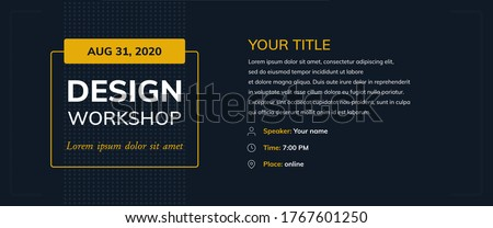 Design workshop with icons on dark background. Creative poster vector template e-mail, party, workshop, event, webinar, conference