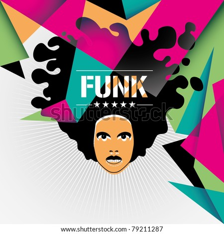 Designed funk background in color. Vector illustration.