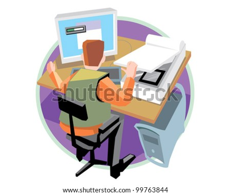 Designer at work design and print service vector icon illustration