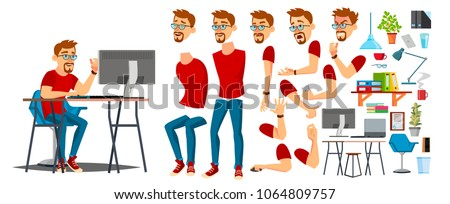 Designer Cartoon Worker Character Vector. Working On Pc Male. Office Designer Animation. Creative Studio. Animation Set. Bearded Salesman, Designer. Face Emotions, Expressions.  Illustration