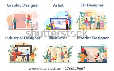 Designer concept set. Graphic, 3d, interior, industrial designer, illustrator, artist. Collection of hobby and modern profession. Isolated vector illustration in cartoon style