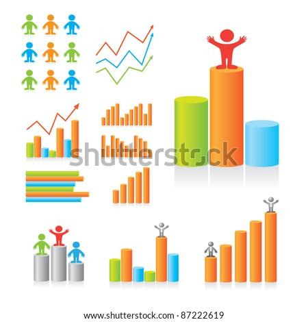 Designer Design diagrams. The leading indicators. Set of templates.