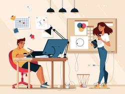 Designer illustrator at work in design studio working at computer with digital pen and tablet. Graphic designer or creative artist, drawing artwork design on computer display in design agency
