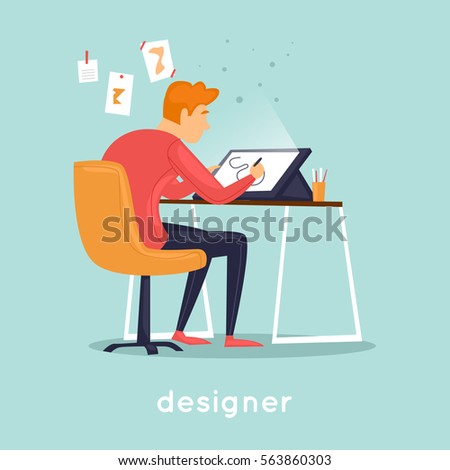 Designer illustrator working in the office. Flat vector illustration in cartoon style.