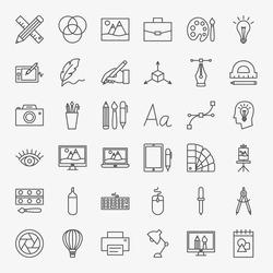 Designer Line Icons Set. Vector Thin Outline Art Symbols.