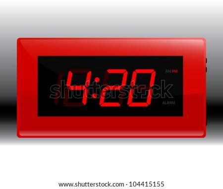 Designer Red Digital Alarm Clock Edit Your Own Time