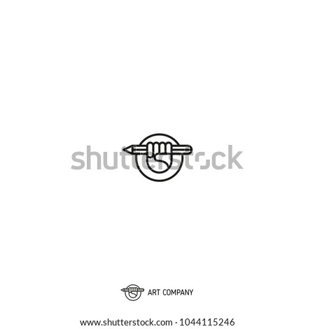 Designer's hand / pencil / logo / vector illustration