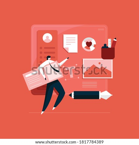 designer working on design project, designer creating portfolio Foto stock ©