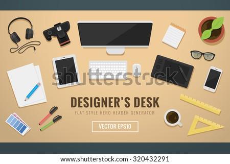Designers desk header hero image flat style elements vector illustration - Shutterstock ID 320432291