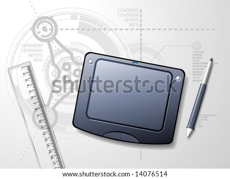 Designers desktop with tablet, stylus and ruler. Techno blue-print background.