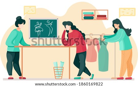 Designers in a studio planning design of future garment. Girl chooses a dress. Women communicate and work together. Preparation for tailoring and making clothes. Fashion designers in tailoring studio Foto stock ©