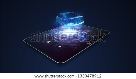 Designing a car on a tablet. Hologram of the car of the future in style HUD UI GUI. Abstract virtual graphic touch user interface. Vector