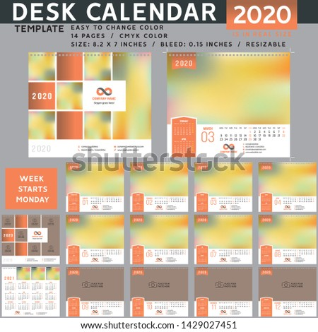 Desk calendar 2020, desktop calendar template, red calendar, Week starts on Monday, Vector Illustration, suitable for company, spiral calendar. Orange