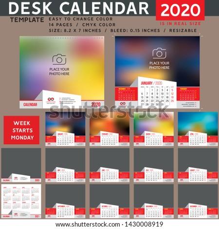Desk calendar 2020. Desktop calendar template. Week starts on Monday. suitable for company. spiral calendar. red calendar